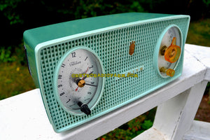 SOLD! - Oct 8, 2017 - BLUETOOTH MP3 Ready - SPRUCE Green Mid Century Retro 1959 Zenith Model B514F Tube AM Clock Radio Sounds Great! - [product_type} - Zenith - Retro Radio Farm