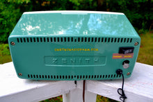 Load image into Gallery viewer, SOLD! - Oct 8, 2017 - BLUETOOTH MP3 Ready - SPRUCE Green Mid Century Retro 1959 Zenith Model B514F Tube AM Clock Radio Sounds Great! - [product_type} - Zenith - Retro Radio Farm