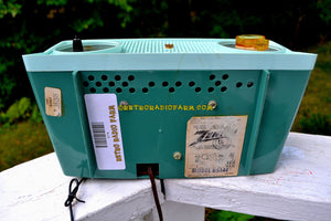 SOLD! - Oct 8, 2017 - BLUETOOTH MP3 Ready - SPRUCE Green Mid Century Retro 1959 Zenith Model B514F Tube AM Clock Radio Sounds Great!