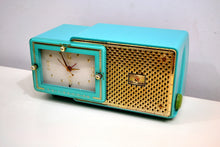 Load image into Gallery viewer, SOLD! - Feb 5, 2020 - Faberge Turquoise and Gold 1957 Bulova Model 100 AM Clock Radio Near Mint and Simply Fabulous! - [product_type} - Bulova - Retro Radio Farm
