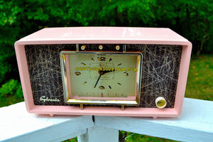 SOLD! - Sept 20, 2017 - PINK CHRYSANTHEMUM Mid Century Retro Vintage 1955 Sylvania R598-10895 Tube AM Clock Alarm Radio Upscale and Almost Mint!