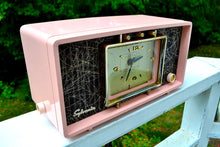 Load image into Gallery viewer, SOLD! - Sept 20, 2017 - PINK CHRYSANTHEMUM Mid Century Retro Vintage 1955 Sylvania R598-10895 Tube AM Clock Alarm Radio Upscale and Almost Mint!