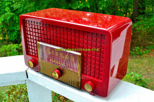 SOLD! - Sept 26, 2017 - CRANBERRY RED Mid Century Retro Vintage 1955 RCA Victor Model 5X-564 AM Tube Radio Great Sounding!