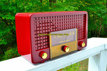 Load image into Gallery viewer, SOLD! - Sept 26, 2017 - CRANBERRY RED Mid Century Retro Vintage 1955 RCA Victor Model 5X-564 AM Tube Radio Great Sounding!