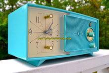Load image into Gallery viewer, SOLD! - Nov 4, 2017 - TURQUOISE BEAUTY Mid Century Jetsons 1959 Zenith Model E514B Tube AM Clock Radio Pristine Condition! - [product_type} - Zenith - Retro Radio Farm