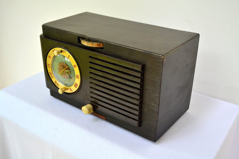 BLUETOOTH MP3 READY - 1952 General Electric Model 66 AM Brown Bakelite Tube Clock Radio