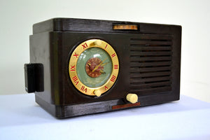 SOLD! - Dec 7, 2018 - BLUETOOTH MP3 READY - 1952 General Electric Model 66 AM Brown Bakelite Tube Clock Radio - [product_type} - General Electric - Retro Radio Farm