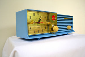 Cornflower Blue Bi-level 1957 Motorola 57CD Tube AM Clock Radio - [product_type} - Motorola - Retro Radio Farm