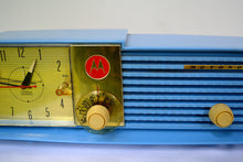 Load image into Gallery viewer, SOLD! - Mar 31, 2019 - Cornflower Blue Bi-level 1957 Motorola 57CD Tube AM Clock Radio - [product_type} - Motorola - Retro Radio Farm