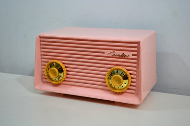 Carnation Pink 1959 Cavalier Model 562 Vintage Tube AM Radio Collectors Delight! - [product_type} - Cavalier - Retro Radio Farm