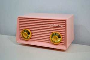 SOLD! - Dec 31, 2019 - Carnation Pink 1959 Cavalier Model 562 Vintage Tube AM Radio Collectors Delight! - [product_type} - Cavalier - Retro Radio Farm