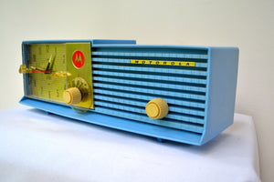 SOLD! - Mar 31, 2019 - Cornflower Blue Bi-level 1957 Motorola 57CD Tube AM Clock Radio - [product_type} - Motorola - Retro Radio Farm