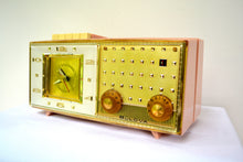 Load image into Gallery viewer, Paris Pink 1960 Bulova Model 190 Tube AM Clock Radio - [product_type} - Bulova - Retro Radio Farm