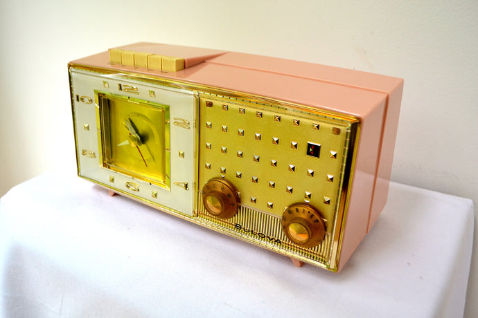Paris Pink 1960 Bulova Model 190 Tube AM Clock Radio - [product_type} - Bulova - Retro Radio Farm