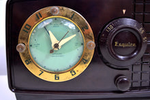 Load image into Gallery viewer, SOLD! - Nov 7, 2019 - Rare Manufacturer Brown Bakelite Post War 1952 Esquire BF Goodrich Model 550U AM Tube Clock Radio Works Great! - [product_type} - Esquire - Retro Radio Farm