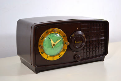 Rare Manufacturer Brown Bakelite Post War 1952 Esquire BF Goodrich Model 550U AM Tube Clock Radio Works Great! - [product_type} - Esquire - Retro Radio Farm