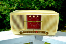 Load image into Gallery viewer, SOLD! - Nov 18, 2017 - BLUETOOTH MP3 READY Ivory Vanilla 1955 General Electric Model 573 Retro AM Clock Radio Works Great!