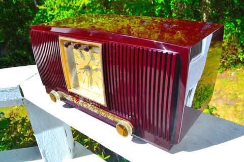 Sold! - Oct 21, 2017 - BLUETOOTH MP3 READY Swirly Brown Marbled 1955 General Electric Model 572 Retro AM Clock Radio Mint Condition!