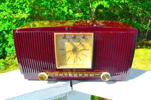 Sold! - Oct 21, 2017 - BLUETOOTH MP3 READY Swirly Brown Marbled 1955 General Electric Model 572 Retro AM Clock Radio Mint Condition! - [product_type} - General Electric - Retro Radio Farm