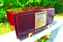 Load image into Gallery viewer, Sold! - Oct 21, 2017 - BLUETOOTH MP3 READY Swirly Brown Marbled 1955 General Electric Model 572 Retro AM Clock Radio Mint Condition!