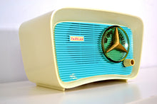 Load image into Gallery viewer, Turquoise and White 1959 Travler Model T-202 AM Tube Radio Cute As A Button!