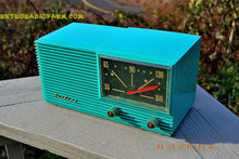 Load image into Gallery viewer, SOLD! - March 22, 2015 - MID CENTURY MARVEL Retro Jetsons Vintage Turquoise 1959 Airline DSE1625A AM Tube Radio Totally Restored! , Vintage Radio - Airline, Retro Radio Farm  - 8