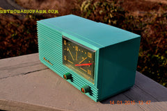 SOLD! - March 22, 2015 - MID CENTURY MARVEL Retro Jetsons Vintage Turquoise 1959 Airline DSE1625A AM Tube Radio Totally Restored! , Vintage Radio - Airline, Retro Radio Farm  - 7