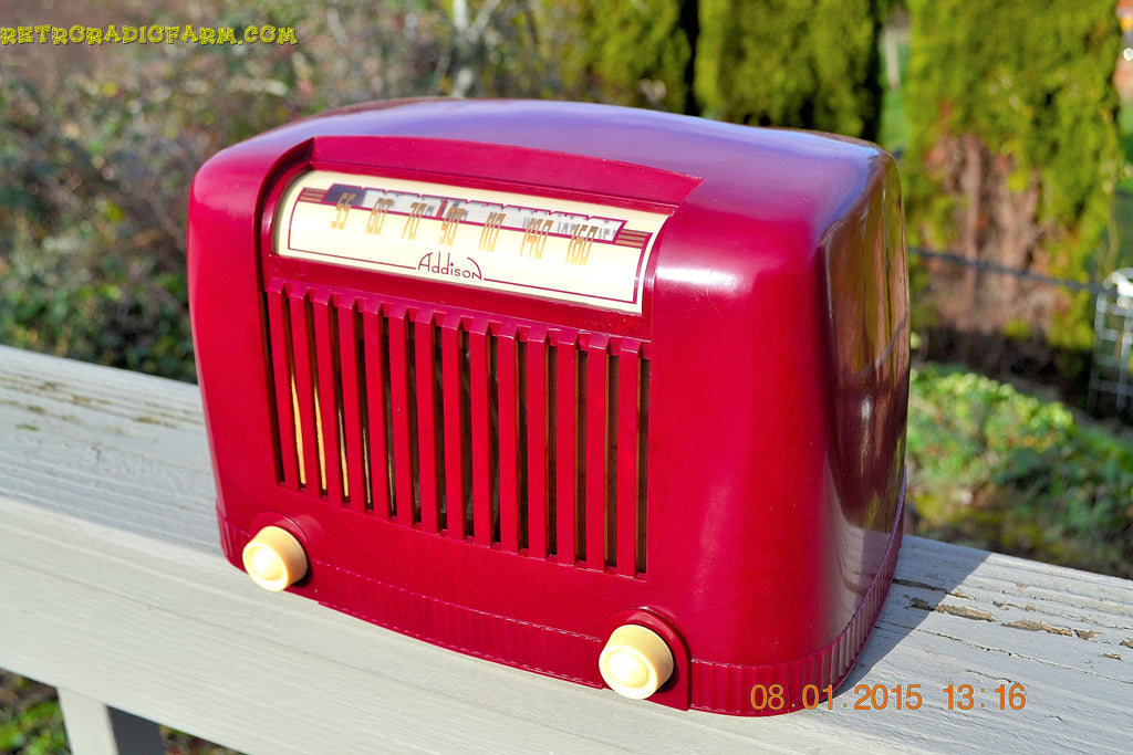 SOLD! - Jan 23, 2015 - CRANBERRY COCKTAIL Art Deco Industrial Retro 1948 Addison Model 55 Bakelite AM Tube AM Radio WORKS! , Vintage Radio - Addison, Retro Radio Farm  - 1