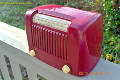 SOLD! - Jan 23, 2015 - CRANBERRY COCKTAIL Art Deco Industrial Retro 1948 Addison Model 55 Bakelite AM Tube AM Radio WORKS! , Vintage Radio - Addison, Retro Radio Farm  - 3