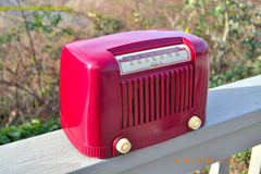SOLD! - Jan 23, 2015 - CRANBERRY COCKTAIL Art Deco Industrial Retro 1948 Addison Model 55 Bakelite AM Tube AM Radio WORKS! , Vintage Radio - Addison, Retro Radio Farm  - 2