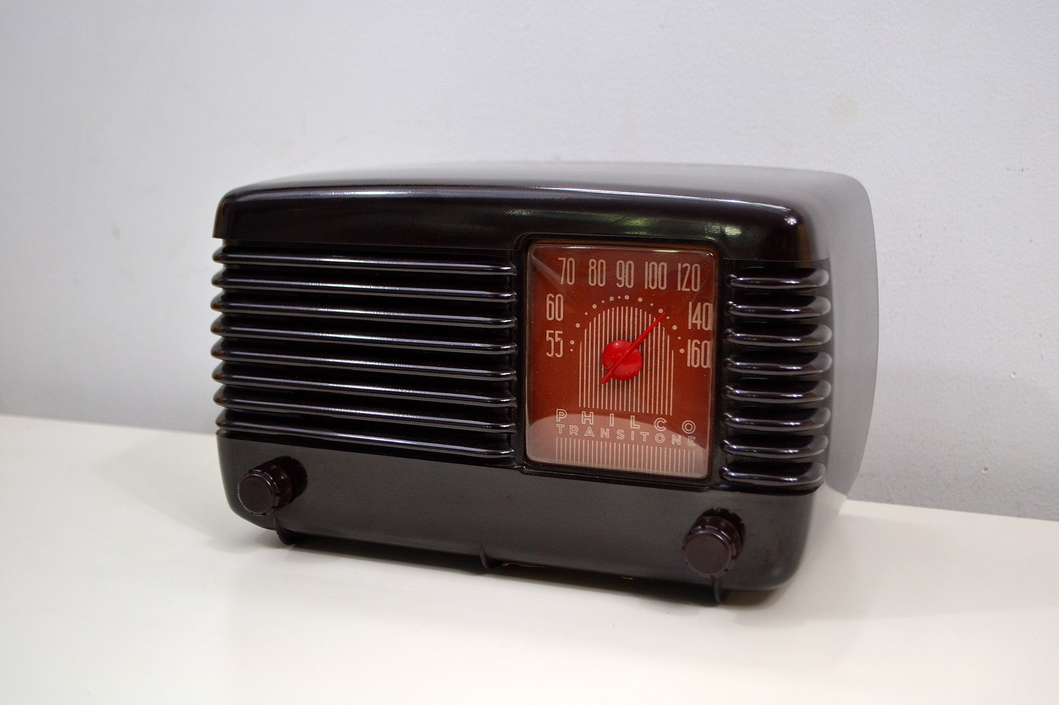 SOLD! - Oct  11, 2019 - Art Deco Brown Bakelite Vintage 1946 Philco Transitone 46-200 AM Radio Popular Design Back In Its Day! - [product_type} - Philco - Retro Radio Farm