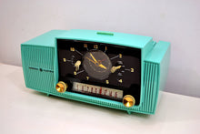 Load image into Gallery viewer, SOLD! - Oct 3, 2019 - Ocean Turquoise 1956 General Electric Model 914-D Tube AM Clock Radio Real Looker! - [product_type} - General Electric - Retro Radio Farm