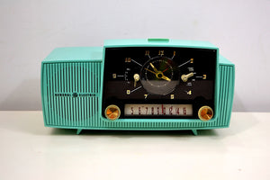 SOLD! - Oct 3, 2019 - Ocean Turquoise 1956 General Electric Model 914-D Tube AM Clock Radio Real Looker! - [product_type} - General Electric - Retro Radio Farm
