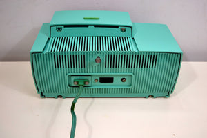 SOLD! - Oct 3, 2019 - Ocean Turquoise 1956 General Electric Model 914-D Tube AM Clock Radio Real Looker!
