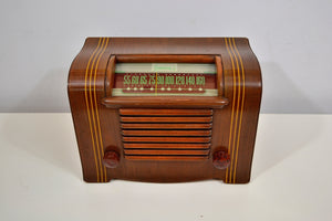 SOLD! - Dec 2, 2019 - Golden Age 1945 Sonora RB-207 AM Tube Radio Curvaceous Wooden Beauty! - [product_type} - Sonora - Retro Radio Farm