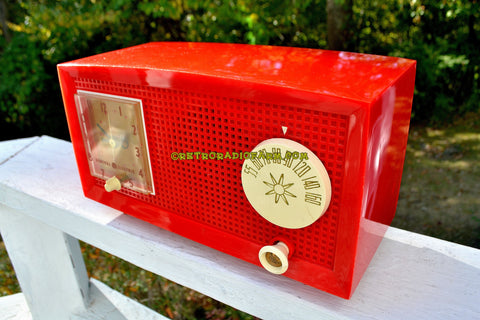 RED HOT RED Mid Century Retro Vintage 1954 General Electric Model 556 AM Tube Radio Gorgeous!