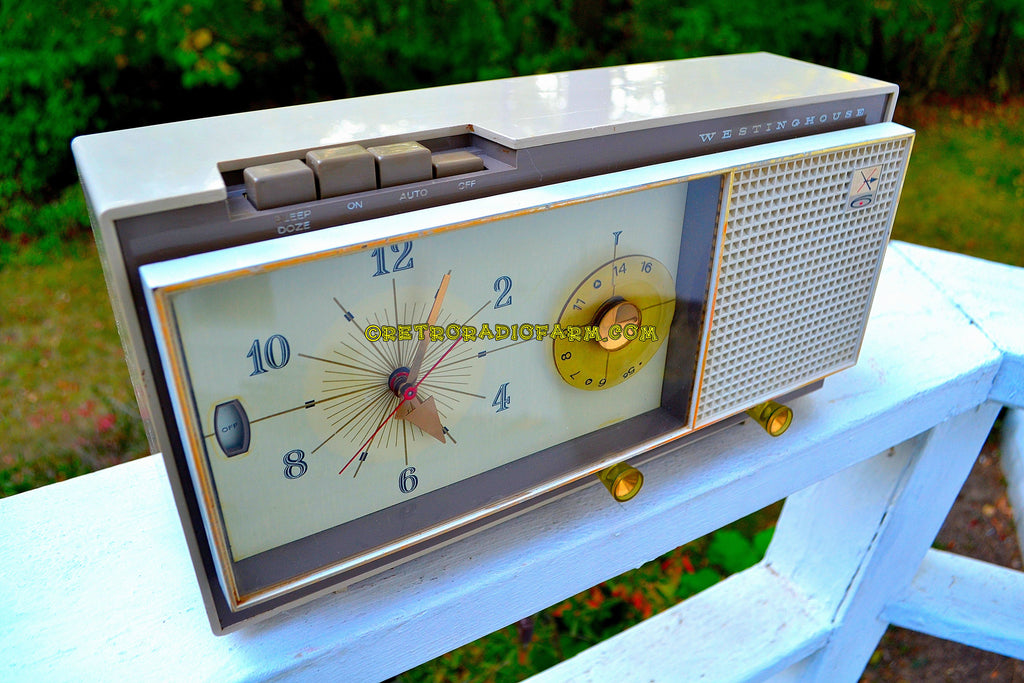 SOLD! - Apr 4, 2018 - CAMEO BEIGE MOCHA Mid Century Retro 1959 Westinghouse Model 864L6 AM Tube Radio Alarm Clock Totally Restored!