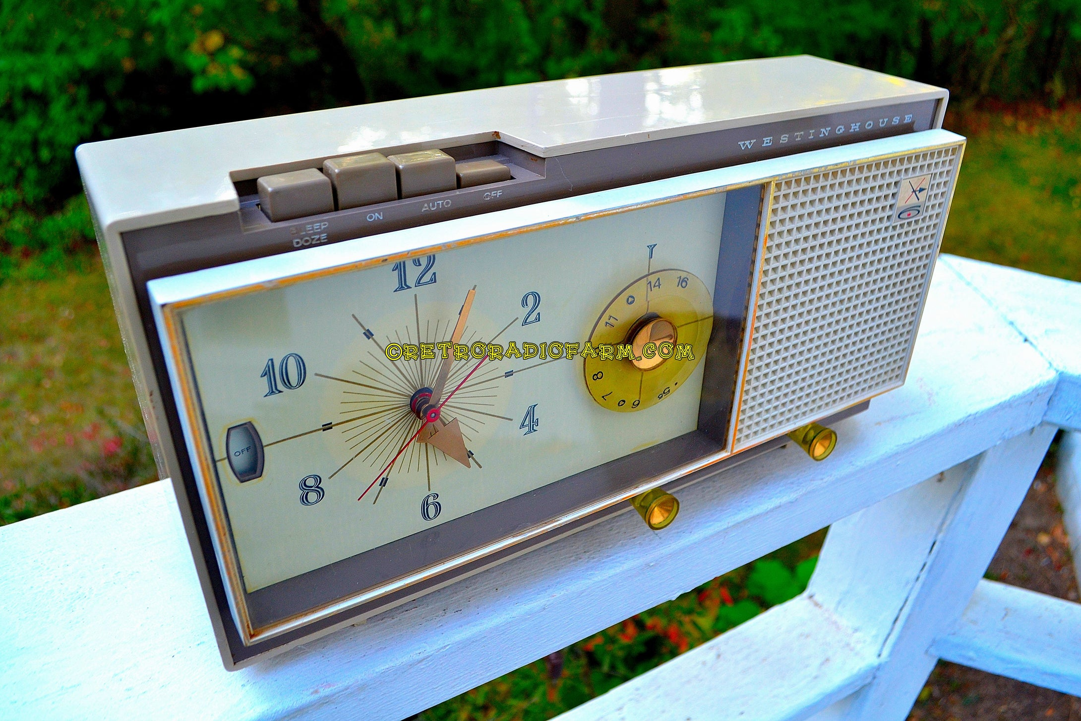 SOLD! - Apr 4, 2018 - CAMEO BEIGE MOCHA Mid Century Retro 1959 Westinghouse Model 864L6 AM Tube Radio Alarm Clock Totally Restored! - [product_type} - Westinghouse - Retro Radio Farm