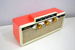 SOLD! - Oct. 25, 2018 - 1959 Silvertone 9009 AM Antique Radio in Coral Pink - [product_type} - Silvertone - Retro Radio Farm