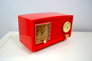 RED HOT RED Antique Retro Vintage 1954 General Electric Model 556 AM Tube Radio Gorgeous! - [product_type} - General Electric - Retro Radio Farm