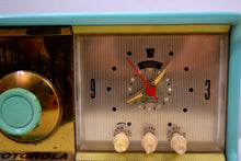 Load image into Gallery viewer, Aqua Mid Century 1956 Motorola Model 56CD Tube AM Clock Radio Sounds Great! Looks Great! - [product_type} - Motorola - Retro Radio Farm