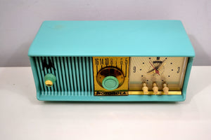 Aqua Mid Century 1956 Motorola Model 56CD Tube AM Clock Radio Sounds Great! Looks Great! - [product_type} - Motorola - Retro Radio Farm