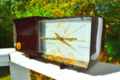 ESPRESSO Marbled Mid Century Retro 1960 Silvertone Model 7025 AM Clock Radio Totally Restored!