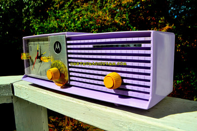 HYACINTH Bi-level Retro Jetsons 1957 Motorola 5C27V-1 Tube AM Clock Radio Stunning and Near Mint! - [product_type} - Retro Radio Farm - Retro Radio Farm