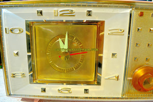 SOLD! - Jan 21, 2018 - PLAZA PINK Mid Century Retro Vintage 1959-60 Bulova Model 190 Tube AM Clock Radio Looks Spectacular! - [product_type} - Bulova - Retro Radio Farm