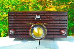 ESPRESSO Mid Century Retro Jetsons 1957 Motorola 57H Turbine Tube AM Radio Marbled Sounds Great!