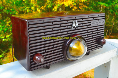 SOLD! - Nov 29, 2017 - ESPRESSO Mid Century Retro Jetsons 1957 Motorola 56H Turbine Tube AM Radio Marbled Sounds Great!