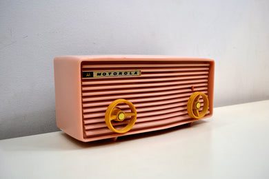 Powder Pink 1957 Motorola 57R Tube AM Antique Radio Real Gem Crack Free! - [product_type} - Motorola - Retro Radio Farm
