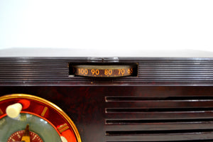 SOLD! - Oct 8, 2019 - 1952 General Electric Model 60 AM Brown Bakelite Tube Clock Radio Totally Restored! - [product_type} - General Electric - Retro Radio Farm