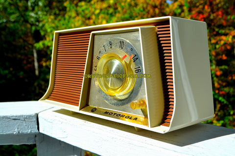 TAN and White Mid Century Retro 1962 Motorola A17W29 Tube AM Radio Cool Model Rare Color!